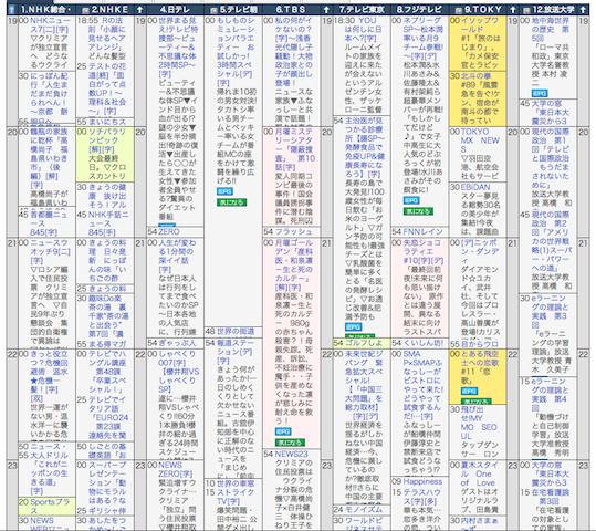 番組表2014